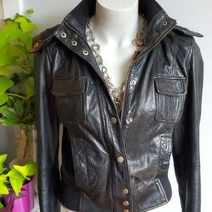 Zara TRF black leather hooded motorcycle jacket, M (fits S-M)